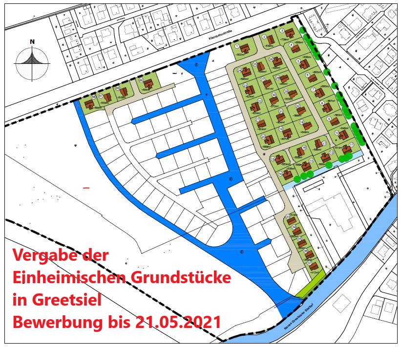 Vergabe der Einheimischen Grundstücke im Baugebiet Greetsieler Grachten II BPlan 0537
